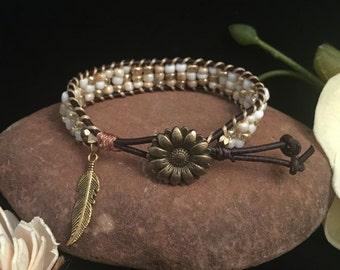 four row beaded leather bracelet
