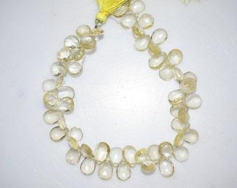 Natural Lemon Quartz Pear Shape Faceted Beads -Lemon Quartz Pear Shape Briolette , 8x6-11x7 mm ,  BL670