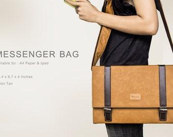 Hazel Design Messenger Shoulder Bag Briefcase for Men Woman Retro Vintage