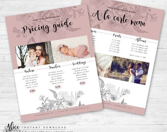 Photography Pricing List, Photoshop Template,  Price List Template, Wedding Pricing Template, Family Price List, Pricing Guide