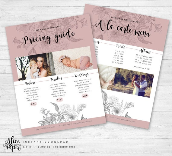 Wedding Family Photo List: Photography Pricing List Photoshop Template Price List