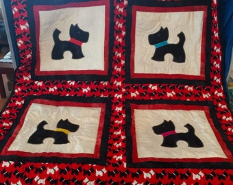 Scottie Dog Baby Quilt or Wall Hanging