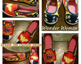 Wonder Woman Custom Made Shoe
