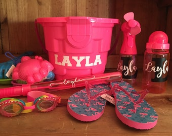 Personalized Beach Bucket & Accessories