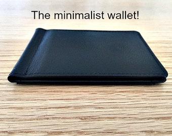 Minimalist wallet •  slim wallet • Personalized mens money clip wallet •monogram wallet •  9th leather anniversary gift • black** 7916