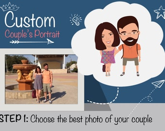 Custom Couple's Postcard-Personalized Pair Illustration-Couple Gift-Cartoon-Custom Hand drawn illustration-Pair Portrait