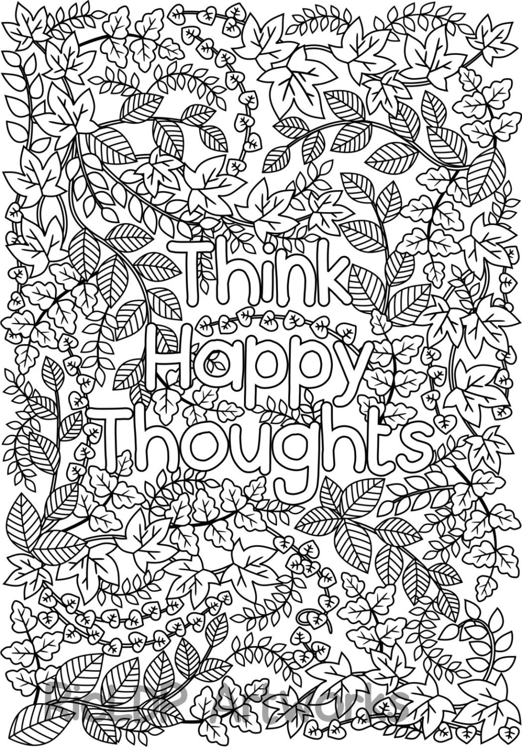 Printable 39 Think Happy Thoughts 39 coloring page for