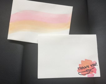 Watercolor thank you card with painted envelope