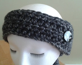 Ear Warmer / Headband - black & gray tweed