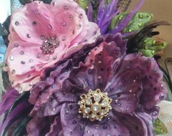 "Pink and Purple ""Gloria"" Burlesque Fascinator"