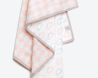 Happy Cloud-Organic Cotton Baby Blanket, Cloud Pink Baby Blanket, Baby Girl Gift, Cloud Print Baby Blanket, Baby Blanket, Cloud Pink Dohar