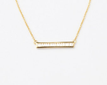 Bar necklace - tiny necklace - gold bar necklace - statement necklace - cz necklace - gold necklace - bar necklace - tiny cz - bar - C15369