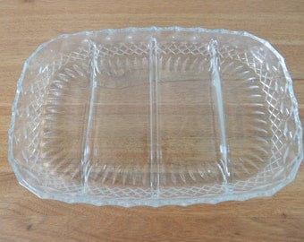 Antique glass serving dish from Italy