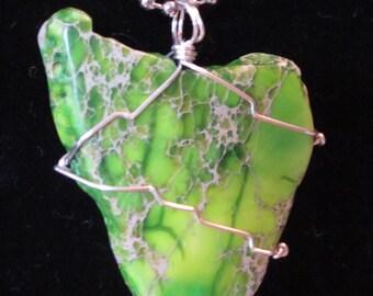 Bright green jasper dyed pendant
