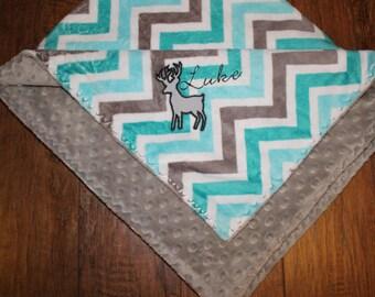 Personalized Deer Baby Blanket, Custom Minky, Made to Order