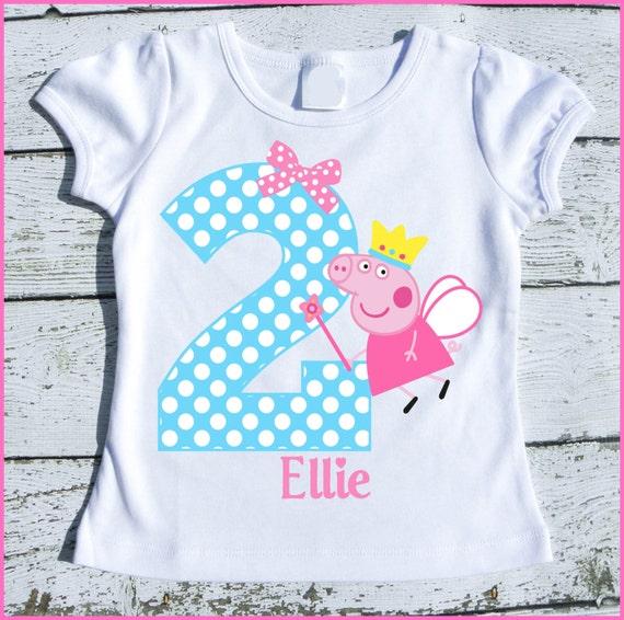 Custom Personalized Peppa Fairy Pig Birthday tee shirt Aqua polka dot and pink