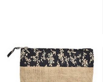 Jute Floral Pouch Bag