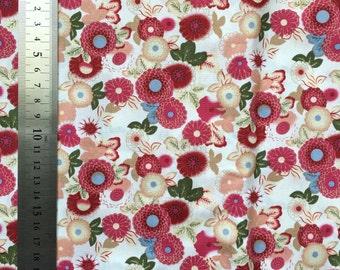 Japanese Chrysanthemum Cream/White Cotton Fabric