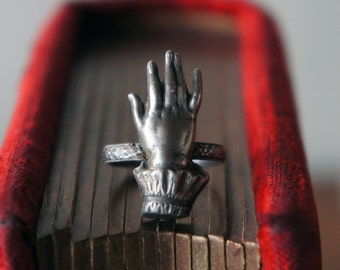 Solid Silver Antique Ladies Cuffed Hand of Destiny Ring