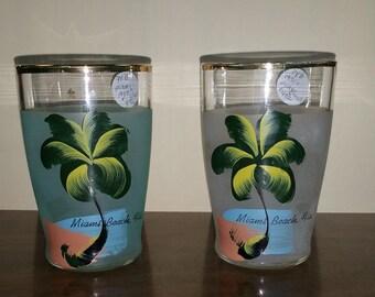 Vintage Miami FLorida Juice Glasses