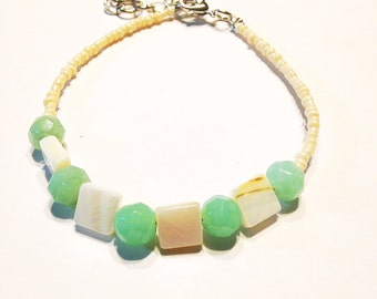 Aquamarine and white shell bead anklet