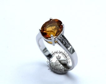 Citrine ring,Citrine women ring,925 Sterling Silver White Gold Plated.