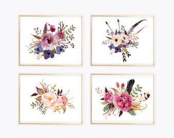 Botanical art print Set of 4 floral print watercolor print flowers arrows feathers wall art print watercolor poster 8 x 12 12 x 16