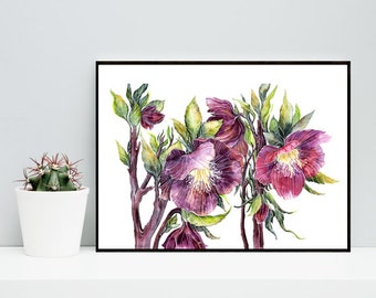Purple flowers print wall art decor flowers digital print Watercolor flower print printable floral wall art decor room gift for her for him