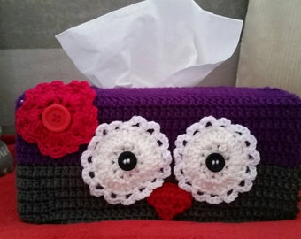 Owl Tissue Box Cover  - Crocheted Owl Face on a Tissue Box Cover  - Purple and Grey with Pink Flower