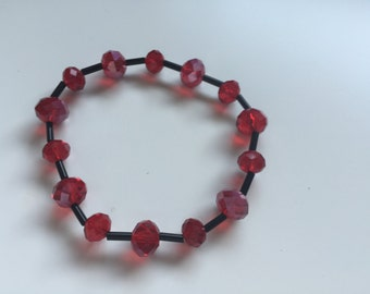 Handmade Glass Beaded Bracelet in Red and Black