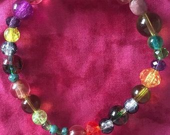 Multi- coloured beaded bracelet