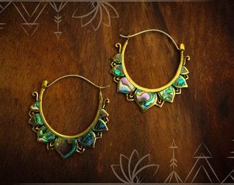Brass and Abalone shell, lotus earrings (silver ear wire)