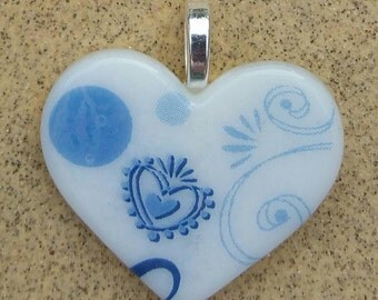 Fused Glass Jewelry Pendant -Blue White Jewelry-Heart Necklace