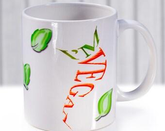 Vegan mug. Vegan gift idea. Veggie designed cup