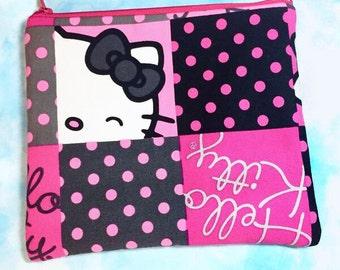 Pink Polka Dot Hello Kitty Cosmetic Bag
