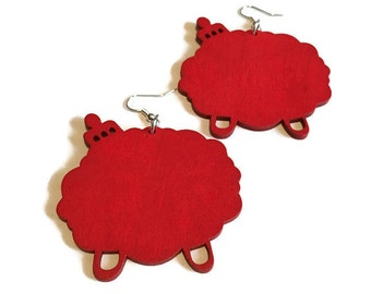 Afro Pick Earrings, Red Duafe earrings, 2 inches