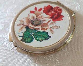 Vintage Floral Gold Tone 3 Compartment Compact & Mirror Powder Puff 1950s