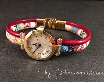 Watch Gold linen band Red