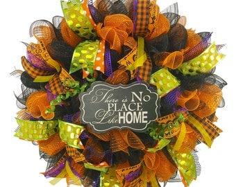 Splash of Halloween Deco Mesh  Welcome Wreath Halloween Wreath Front Door Wreath Holiday Decor Halloween Decor