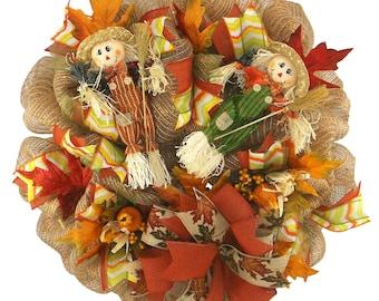 Fall Scarecrow Deco Mesh Wreath Holiday Wreath Fall Front Door Wreath Autumn Wreath Fall Wreath Scarecrow Wreath