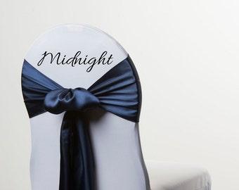 MIDNIGHT BLUE/ Dark Navy Satin Chair Sash