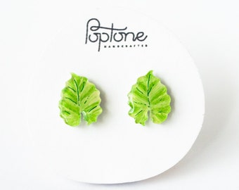 Tropical Leaf Earrings, philodendron leaves, plant earrings, tropical green leaf studs