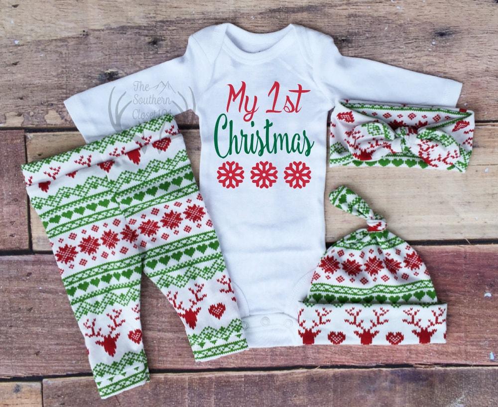 Baby Girl Christmas OutfitMy 1st Christmas My First Girl