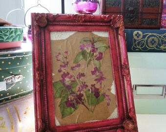 Pressed Wild Flower Collage in a Hand Painted Rococo Style Frame