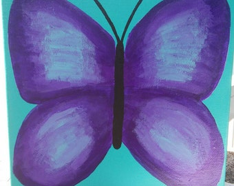Butterfly original acrylic painting, wall art, butterfly home decor, purple butterfly,  acrylic small canvas,  6x6 canvas,  nursery decor