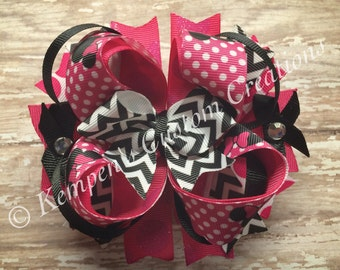 A Pink, black and white Minnie OTT bow