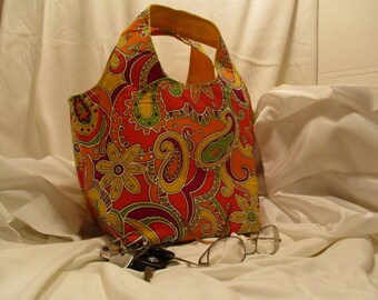 Orange Paisley Hobo Bag