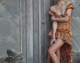 One of a kind - hand made dress with train-