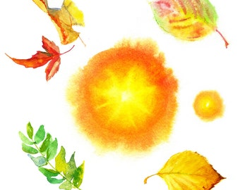 Autumn watercolor set of elements for design of postcards