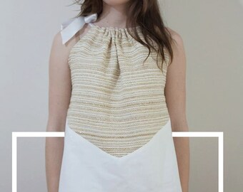 Top American armhole white and gold